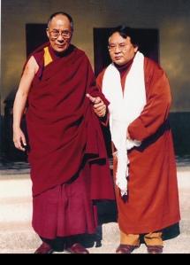 Sa Sainteté le Dalaï Lama en compagnie de Sogyal Rinpoché